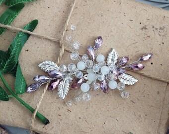 TINY PURPLE   Hair accessory, bridal headpiece, wedding accessory, hair vine