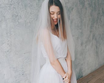 LOVELY   Double tier ivory veil, veil with blusher, bridal veil, wedding veil, white veil, ivory veil, veil wedding