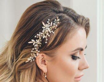 SPARKLING GOLD | Wedding hair vine, wedding accessory, bridal hair vine, bridal hair comb
