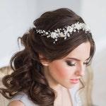 Wedding hair vine, Wedding tiara, Flower crown, Flower headband