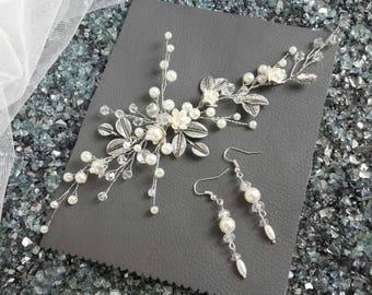 Bridal dangle earrings, wedding drop earrings, bridal jewelry, wedding jewelry