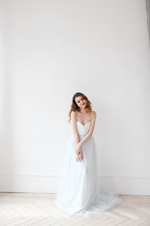 Light blue wedding dress bridal gown tulle wedding dress | Etsy