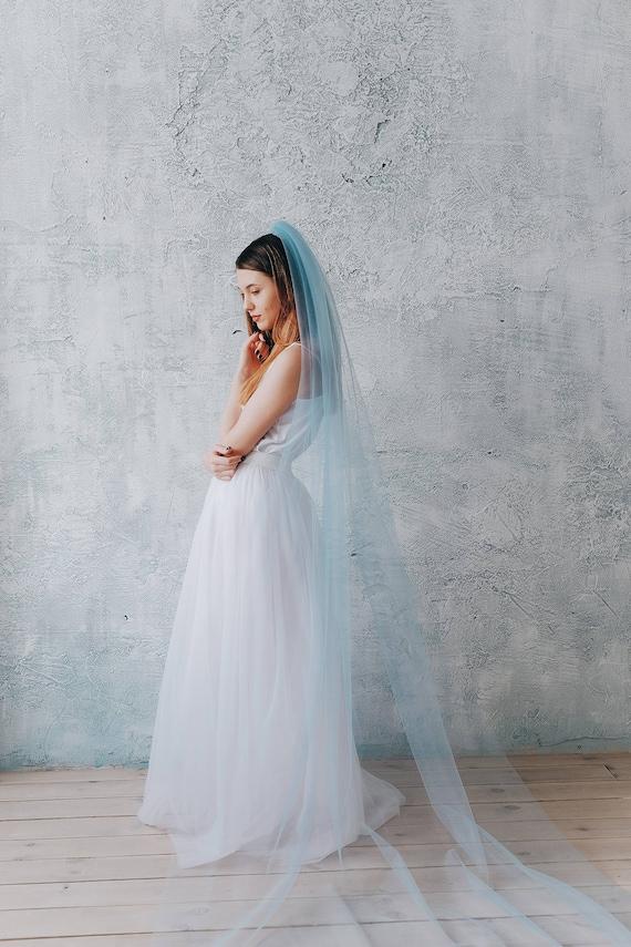 Blue wedding veil Something blue Bridal