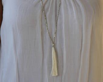 Tassel Necklace Beaded Gold - Elegant Long Necklace - Seed Beaded Necklace - Bohemian Necklace for Women - Boho Necklace Long Tassel