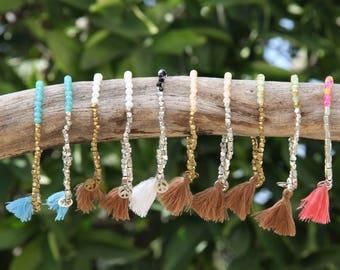 Bead Stacking Bracelet - Peace Bracelet - Tassel Bracelet - Elastic Beaded Bracelet - Beaded Tassel Bracelets - Stretchy Bracelet