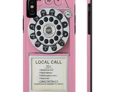 iPhone XS Max Tough Cases Pink Vintage Phone Print iPhone XR Protective Case Retro Rotary Dial Push Button Phone iPhone X 8 7 6 Plus 5 Cover