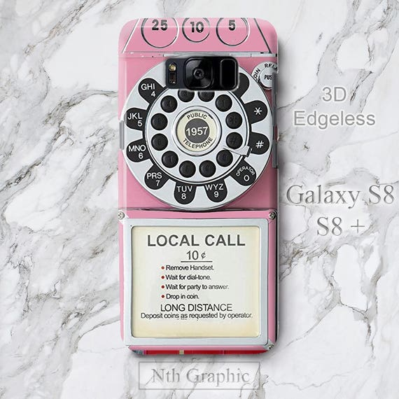 For Samsung Galaxy S10 Plus Case Retro Pink Telephone Stand, Old School  Vintage Pink Phone Galaxy S9 S8 Plus iPhone XS Max 8 3D Slim Cover