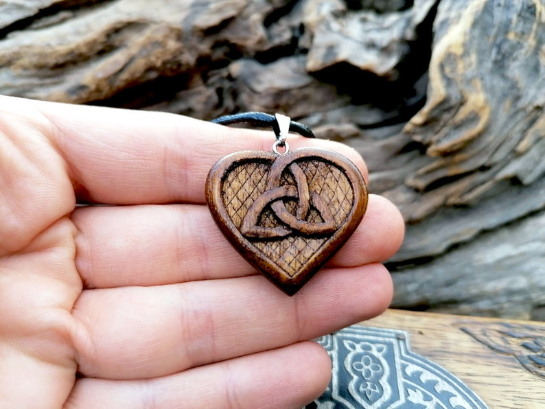 Love And Friendship Celtic Knots Heart Celtic Heart Triskelion Wood Pendant Artisan Jewelry Handmade Beauty And The Best