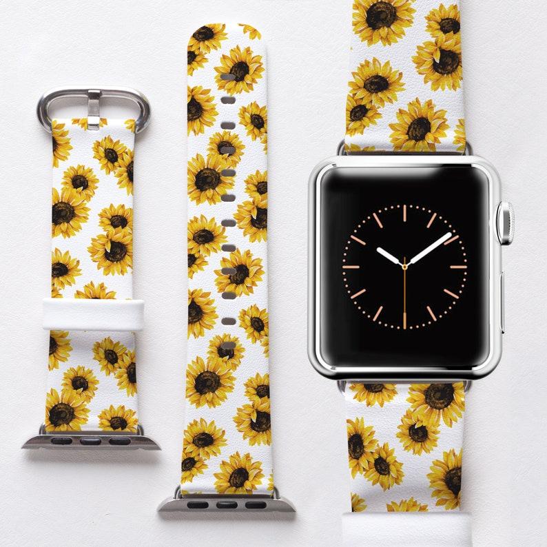 85ba91bad97 Sunflower Apple Watch Band 42mm 38mm iWatch Band Genuine