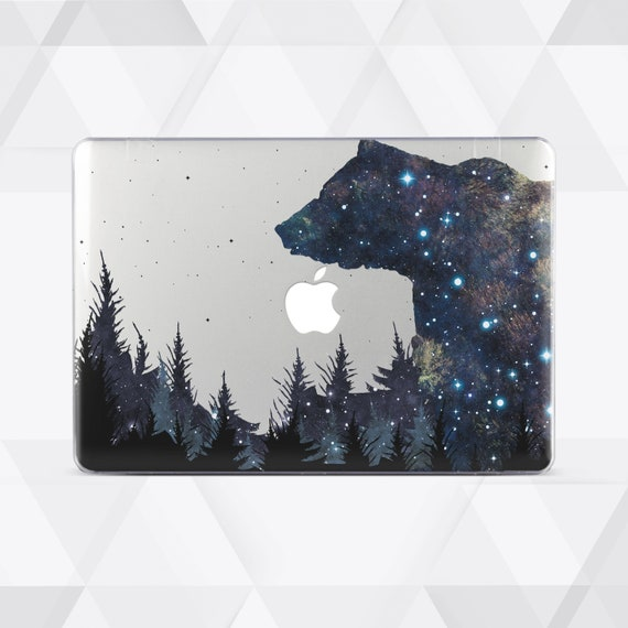 Space Big Bear in Forest Clear Case for Macbook Air 11 Case Macbook Air 13  2018 Macbook New 2018 Blue Macbook 12 Macbook Pro 15 2019 3C5008