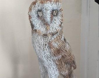Barn owl chicken wire sculpture