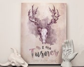 Personalised Mr and Mrs name and date print - Choose any size - choose any colour - Print or canvas - Woodland Stag - Gothic wall Art