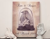 Personalised anniversary name and date print - Choose any size - Print or canvas - Crow Taxidermy