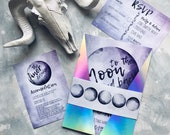 Moon Wedding Invitation Suite with Holographic Jacket  - Modern invitations, rainbow invitations, bright, space, alternative stationery.
