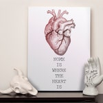 """Canvas - Anatomical Heart - Home is Where the Heart is - 12x16"""" (A3)"""