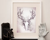 Woodland Stag - Art Print - Grey- Choose a size
