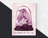 Till Death Do Us Part - Raven Print || Raven Taxidermy Print, Gothic Wall Art, Gothic Valentines Gift, Macabre Art, Raven Art, Gothic Prints