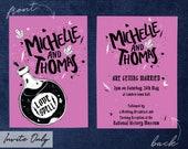 Love Spell Wedding Invitations - Halloween wedding, love potion, tattoo flash, goth wedding, printed invite, alternative stationery.