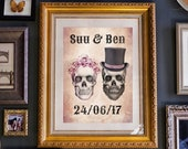 Personalised names and date print - Day of the Wed - Choose any size - Print or canvas - Gothic Wall Art