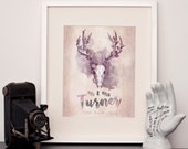 Personalised Mr and Mrs family name and date print - Choose any size - Print or canvas - Woodland Stag - Goth Wall Art