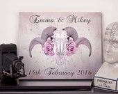 Personalised anniversary name and date print - Choose any size - Print or canvas - Ram Skull - Gothic Wall Art