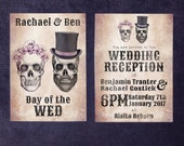 Day of the Dead Wedding Invitations - skull, gothic, roses, succulents, unique, wedding set, printed invite, alternative stationery.