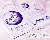 To the Moon & Back Wedding Invitations - watercolour, lilac, celestial, modern, unique, wedding set, printed invite, alternative stationery.