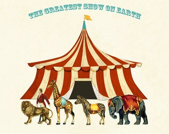 Vintage Circus Party Sign / Instant Download / Birthday Party