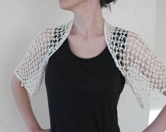 Hand knitted bolero, white bolero, silk