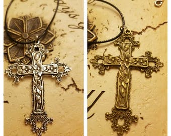 Large Scroll Cross Necklace, Easter, Religious Pendant