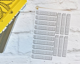 Time Tracker Planner Stickers | Made for your bullet journal. 8L