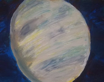 24x18 gouache and oil pastel moon painting