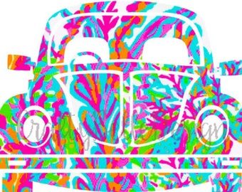 Volkswagen Beetle Decal | Lilly Pulitzer Volkswagen Beetle | VW Beetle Decal | Car Decal | Yeti Decal | Groovy Decal | Tumbler Decal | Vinyl
