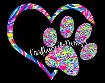 Lilly Pulitzer Car Decal | Lilly Pulitzer Decal | Lilly Pulitzer Inspired Paw Print | Lilly Pulitzer Inspired Paw Print Heart Decal | Vinyl