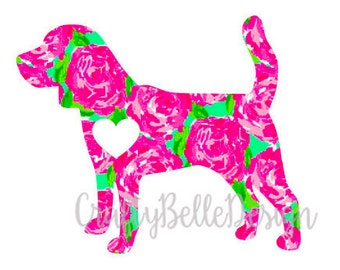 Lilly Pulitzer inspired Beagle Decal | Beagle Decal | Dog Car Decal | Beagle Mom Decal | Beagle Dad Decal | MacBook Decal | Dog Decal