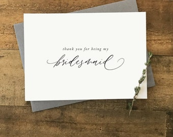 Bridesmaid Thank You Card | Thank You for Being my Bridesmaid