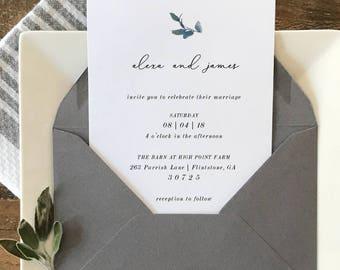 Minimalist Wedding Invitation   Botanical Wedding Invitation   Printable Wedding Invitation