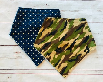 Gender Neutral Bib Set Camo Baby Bandana Bib Green Camo Camouflage Bib for Boy Canada Navy Polkadot Baby Bib