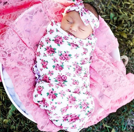 Newborn Swaddle Set with Headband Ready to Ship Newborn Photo Prop Cocoon Light Floral Baby Girl Swaddle Set with Knotted Hat