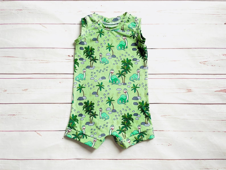 Boy Baby Romper Stretchy Baby Romper Canada Dinosaur Baby Romper Green Dinosaur Shorts Romper Toddler Romper Tank Top Romper
