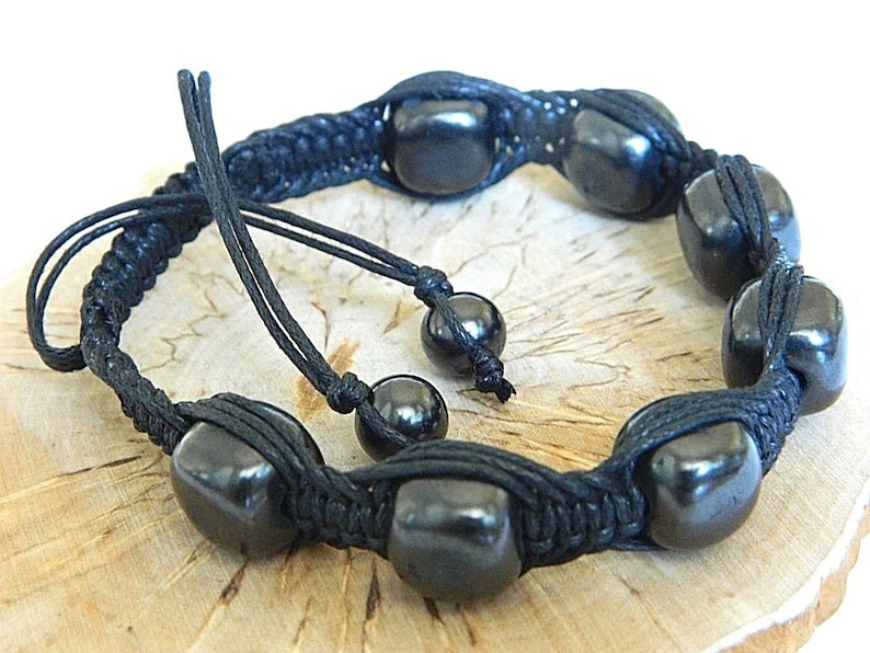 Natural beads bracelet EMF protection fom Karelia Shungite Bracelet Macrame bracelet