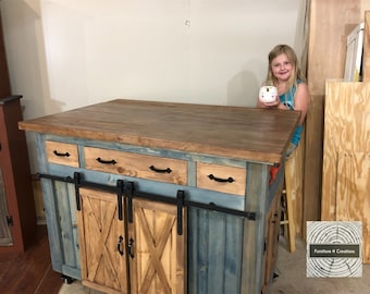Kitchen island on wheels | Etsy
