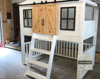 Little House Loft Bed Twin Size With Stairs Playhouse Etsy