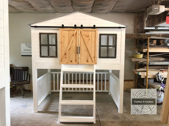 Farmhouse Barn Door Loft Bed With Stairs Kids Room Etsy