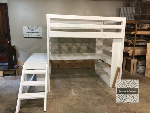 Delicieux Full Loft Bed With Stairs AND Desk: / Kids Loft / Teen Room / | Etsy