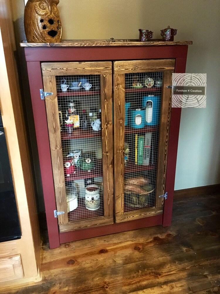 Rustic Farmhouse Primitive Jelly Cabinet Pie Safe Kitchen