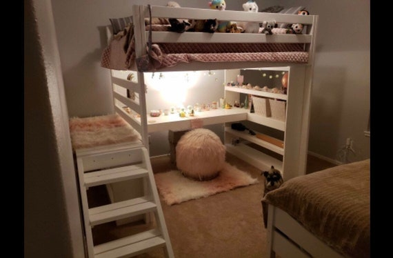 Full Loft Bed With Stairs AND Desk / kids loft / teen room / adult / dorm