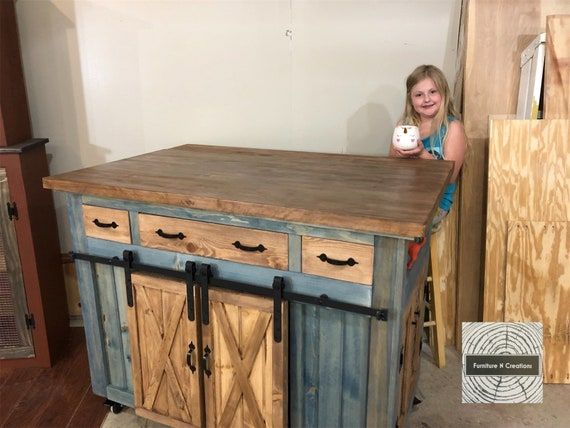 Kitchen Island With Seating Storage And Barn Doors On Wheels Etsy