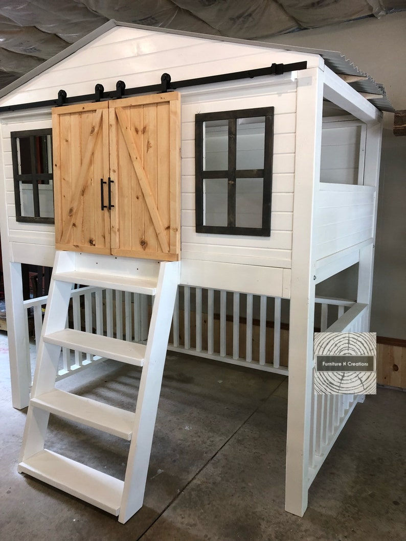 Twin Full Size Farmhouse Barn Door Loft Bed With Stairs Etsy
