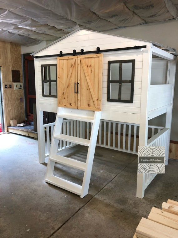 Full Size Farmhouse Barn Door Loft Bed With Stairs Kids Etsy